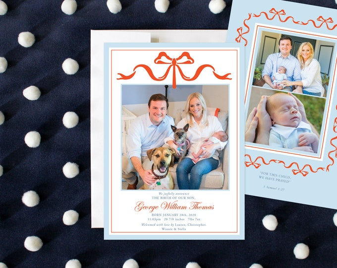PRINTABLE Holiday Cards | Birth Announcement | Baby Blue | Bows | Photo Cards
