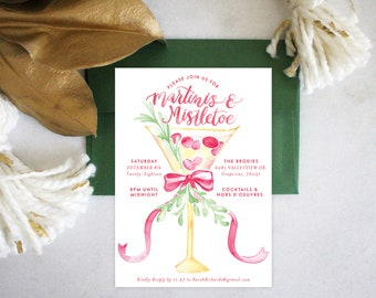 PRINTABLE Holiday Party Invitation | Martinis & Mistletoe