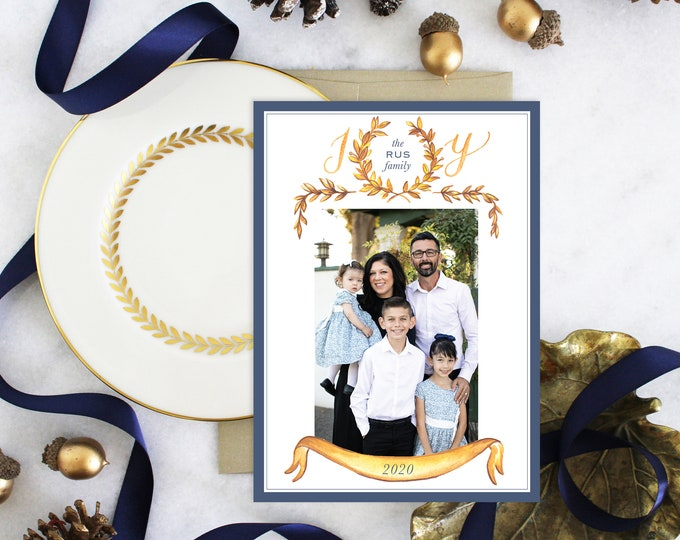 PRINTABLE Holiday Cards | JOY | Laurel Wreath | Photo Cards | Navy | Gold | Gilded Leaves Garland