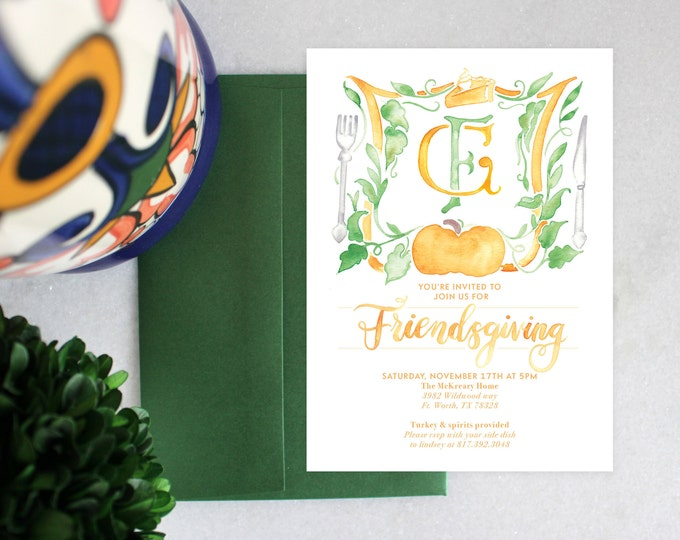 PRINTABLE Friendsgiving Invitation | Pumpkin Crest | Gather
