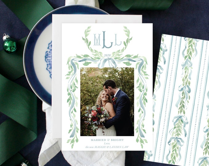 PRINTABLE Holiday Cards | Married & Bright | Newlyweds | Wedding Announcement | French Blue Garland | Tied the Knot