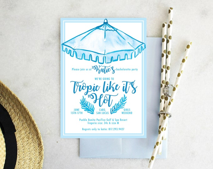 PRINTABLE Bachelorette Party Invitation | Tropic Like It's Hot | Beachlorette | Beach Bachelorette | Pool Party