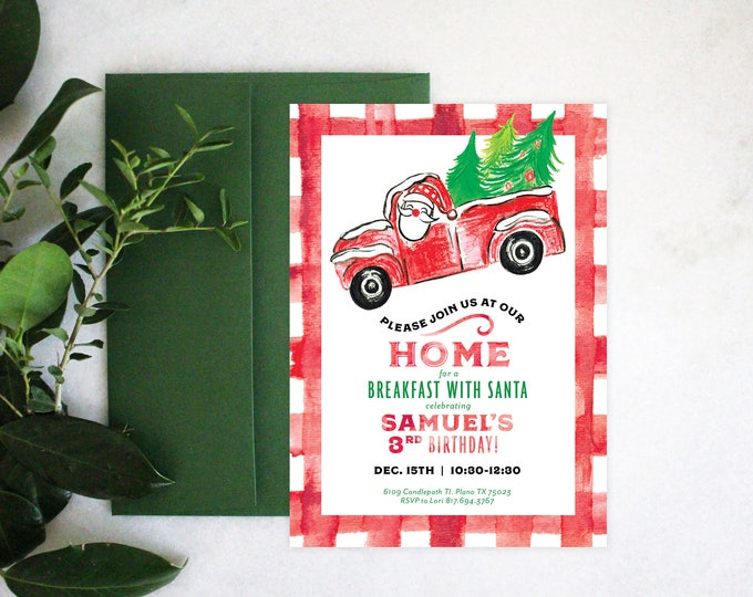 PRINTABLE Birthday Party Invitation | Breakfast with Santa