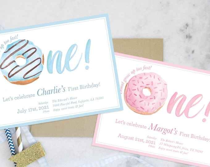 PRINTABLE Birthday Party Invitation   Donut Grow Up!   First Birthday   One is Sweet