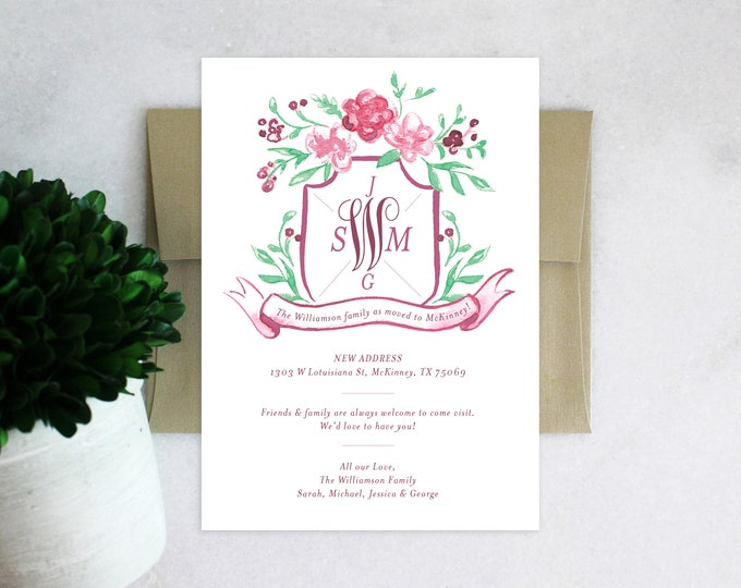 PRINTABLE Monogrammed Moving Announcement | Family Crest | Red Florals