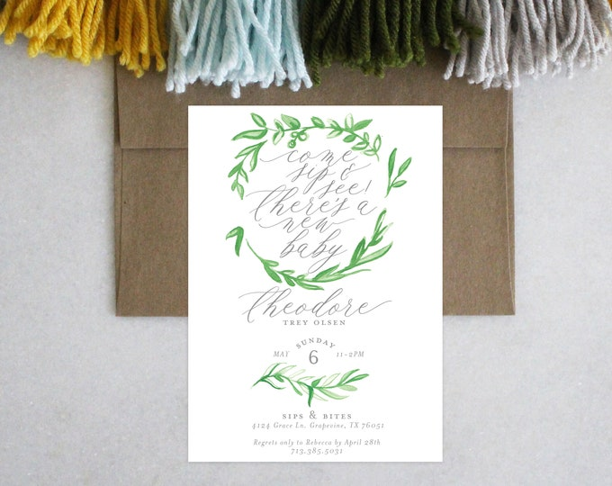 PRINTABLE Sip and See Invitation | Garland