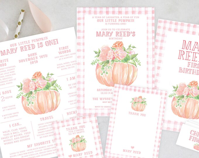 PRINTABLE Birthday Party Invitation   Little Pumpkin Turning One   Pink Gingham   Fall Florals