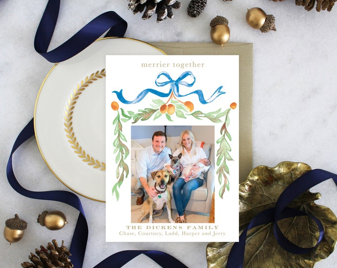 PRINTABLE Holiday Cards | Citrus | Garland | Photo Cards | Blue Bow | Birth Announcement