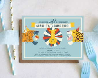 PRINTABLE Birthday Party Invitation | Zoo Animals | Party Like Animals | Wild Time | Big Cats