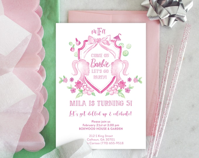 PRINTABLE Birthday Party Invitation   Come on Barbie, Let's go Party!   Spa Day