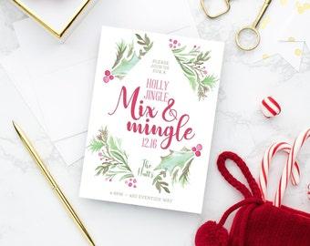 PRINTABLE Holiday Party Invitation   Holly Jingle Mix and Mingle