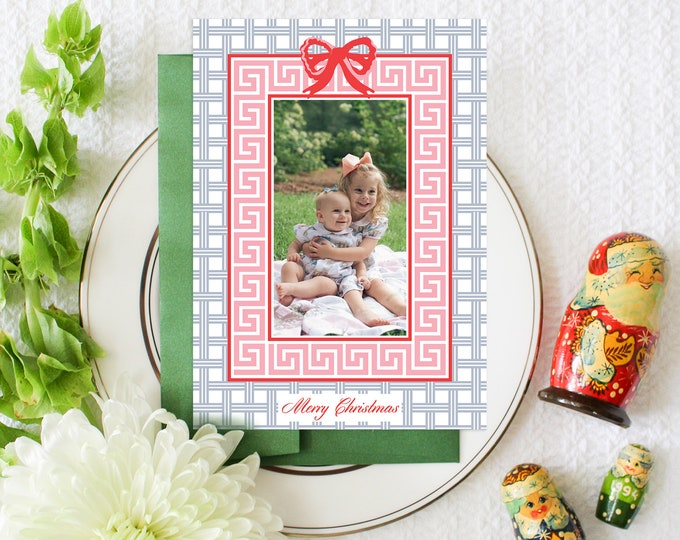 PRINTABLE Holiday Cards | Merry Christmas | Chinoiserie Chic | Cane weave | Bow | Pink Green Blue