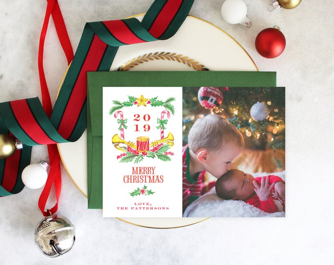 PRINTABLE Holiday Cards | Christmas Crest | Drummer Boy | Photo Cards | Classic Christmas