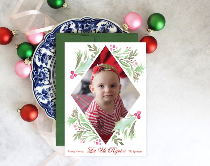 PRINTABLE Holiday Cards | Merry Christmas | Holly Wreath | Photo Cards | Let Us Rejoice