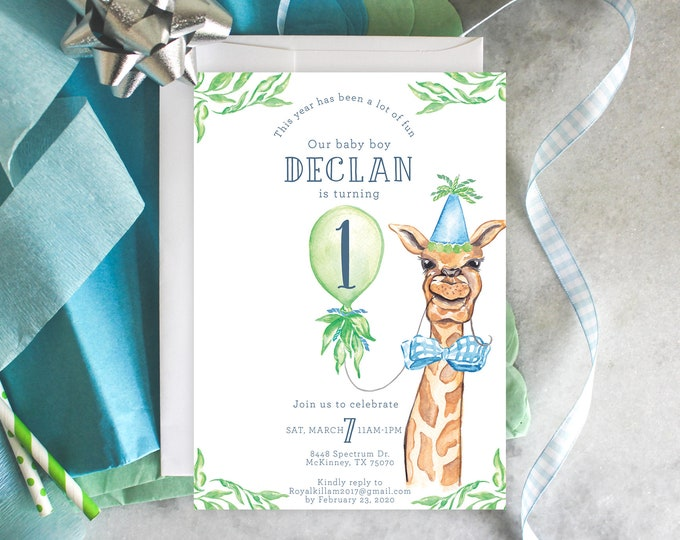 PRINTABLE Birthday Party Invitation | Preppy Giraffe | Jungle | Safari | Party Animals