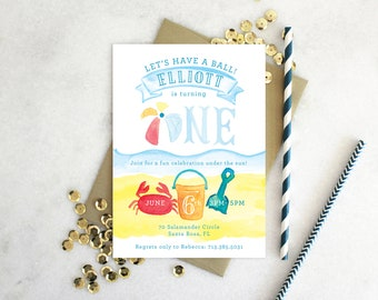 PRINTABLE Birthday Party Invitation | Beach Ball Invitation | Let's have a Ball!