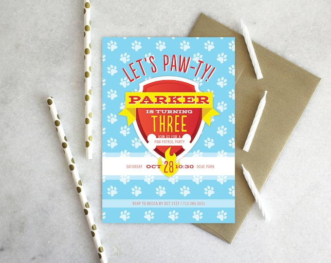 PRINTABLE Birthday Party Invitation | Paw Patrol Paw-ty!