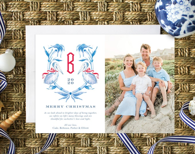 PRINTABLE Holiday Cards | Tropical Christmas | Photo Cards | Blue Bamboo Chinoiserie Crest