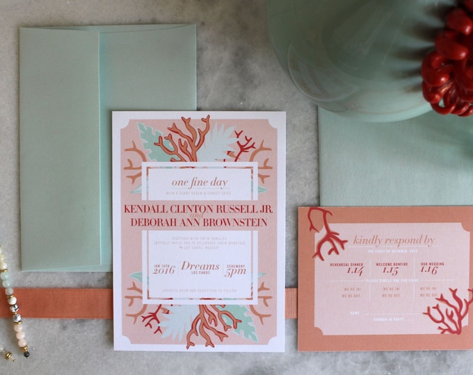 PRINTABLE Wedding Invitation Suite | Coastal Daze in Blush & Mint