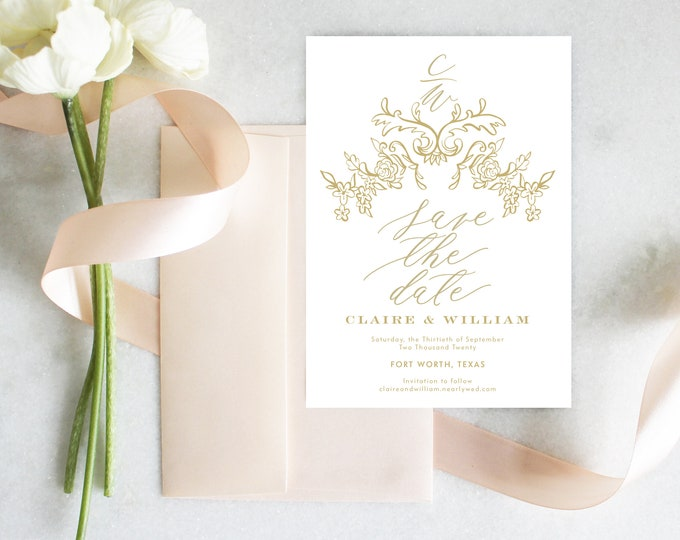 PRINTABLE Save The Date | French | Floral | White & Gold