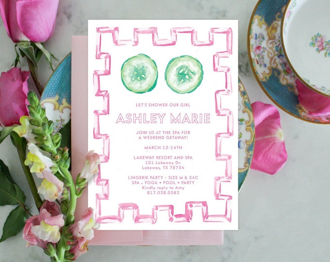 PRINTABLE Bachelorette Party Invitation | Spa Day | Bamboo | Cucumbers