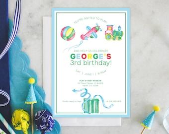 PRINTABLE Birthday Party Invitation | Boys & Toys | Play Time | Planes | Trains
