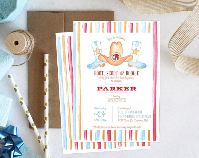 PRINTABLE Birthday Party Invitation | Boot Scootin' Boogie | Cowboy | Monogrammed | Boots & Hat