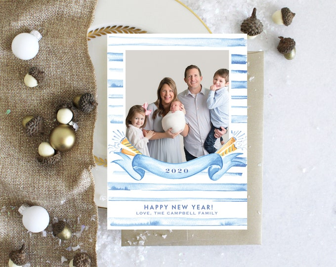 PRINTABLE Holiday Cards | Happy New Years | 2020 | Photo Cards | Celebrate with stripes | Birth Announcement