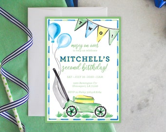 PRINTABLE Birthday Party Invitation | Lawn Mower Party | Mosey on Over