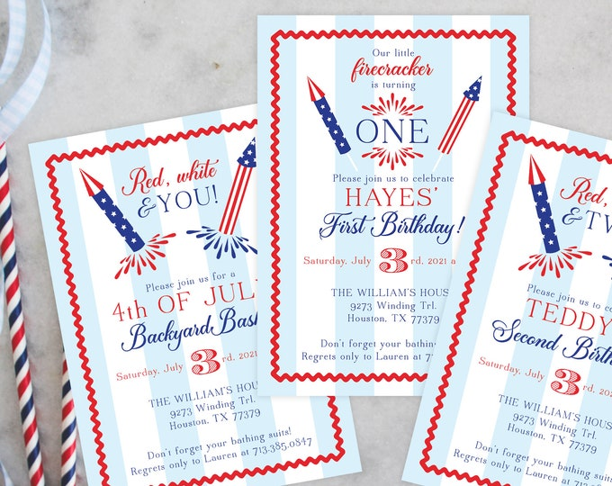 PRINTABLE Birthday Party Invitation   Americana Prep   Red White and Blue   Fourth of July   Patriotic Party