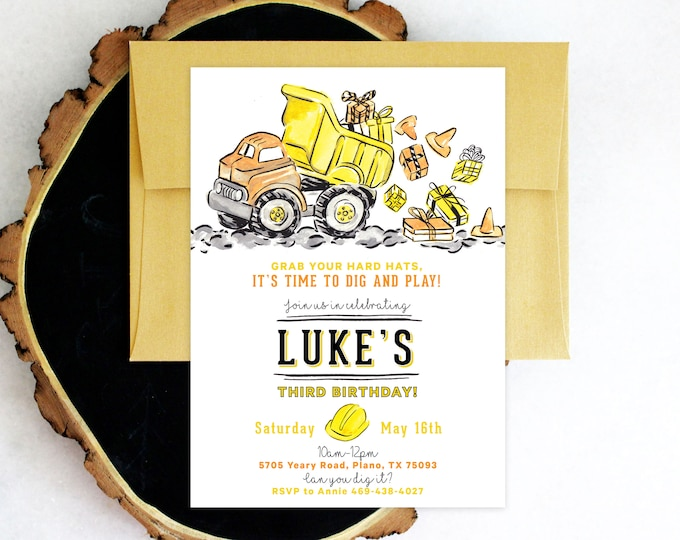PRINTABLE Birthday Party Invitation | Construction Party | Dump Truck | Hard Hats and Boots | Dig and Play