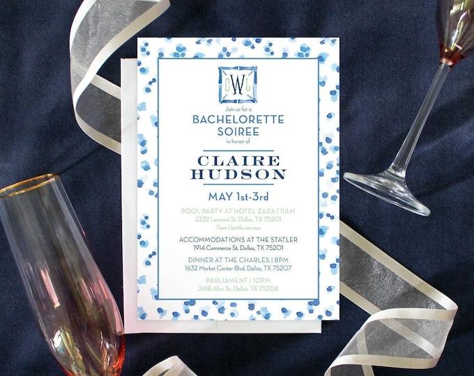 PRINTABLE Bachelorette Party Invitation   Leopard   Monogram   Blue & White