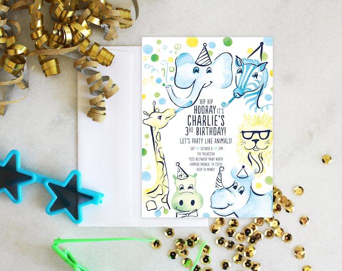 PRINTABLE Birthday Party Invitation | Party Like Animals | Zoo Animals