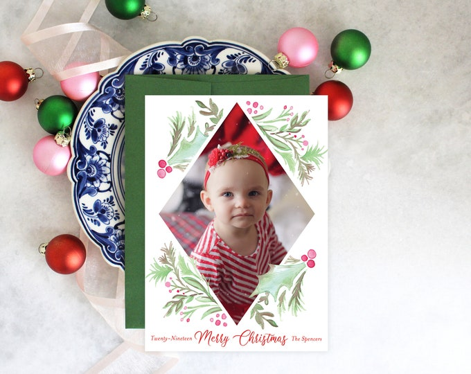 PRINTABLE Holiday Cards | Merry Christmas | Holly Wreath | Photo Cards