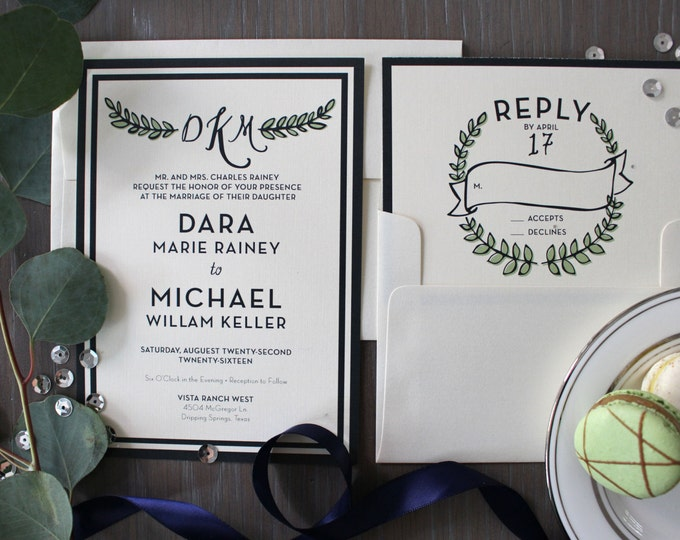 PRINTABLE Wedding Invitation Suite | Laurel Wreath in Navy & Fern