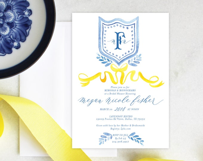 PRINTABLE Bridal Shower Invitation | French Blue | Chinoiserie | Ribbon | Display Shower | Monograms & Mimosas | Brunch