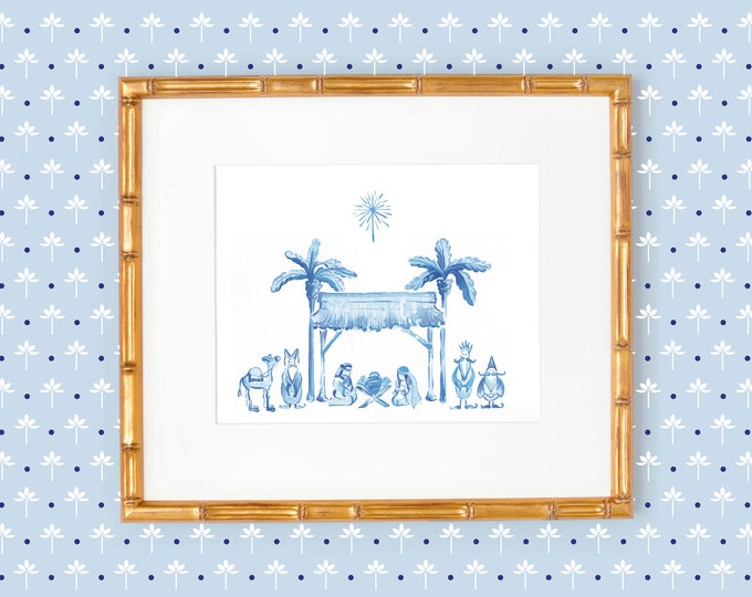 PRINTABLE Holiday Nativity Scene | Blue and White Forever | Christmas Print
