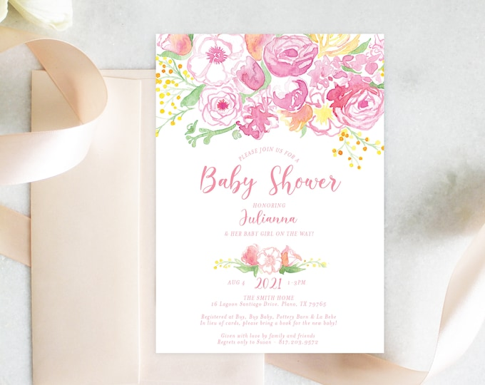 PRINTABLE Baby Shower Invitation | Pink Bouquet | Baby Girl | Florals | Fresh Blooms
