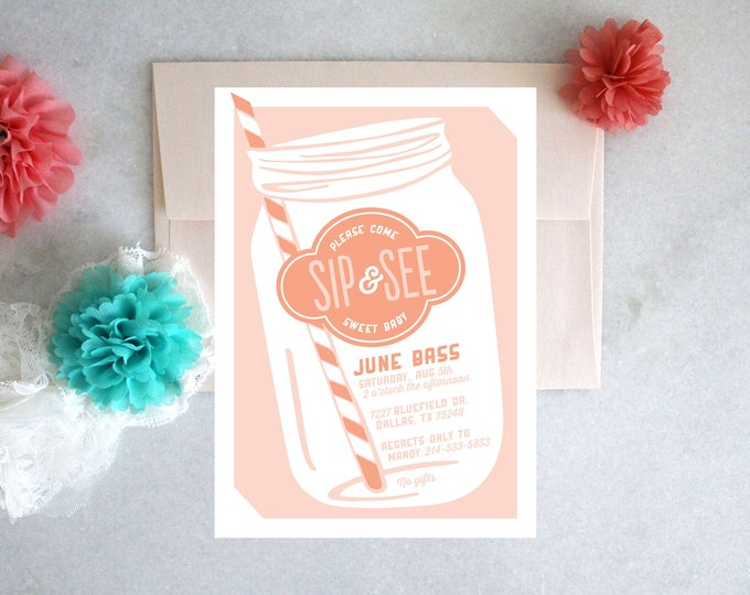 PRINTABLE Sip and See Invitation | Mason Jar