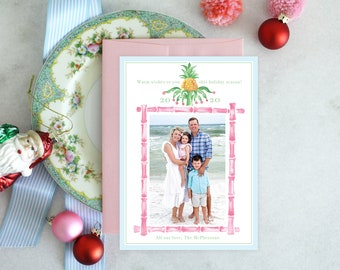 PRINTABLE Holiday Cards | Tropical Christmas | Photo Cards | Pink Bamboo | Very Merry Pineapple