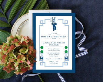 PRINTABLE Bridal Shower Invitation | Chinoiserie | Topiaries | Something Blue | Fishtail Monogram