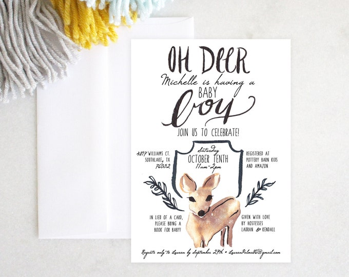 PRINTABLE Baby Boy Shower Invitation | Oh Deer