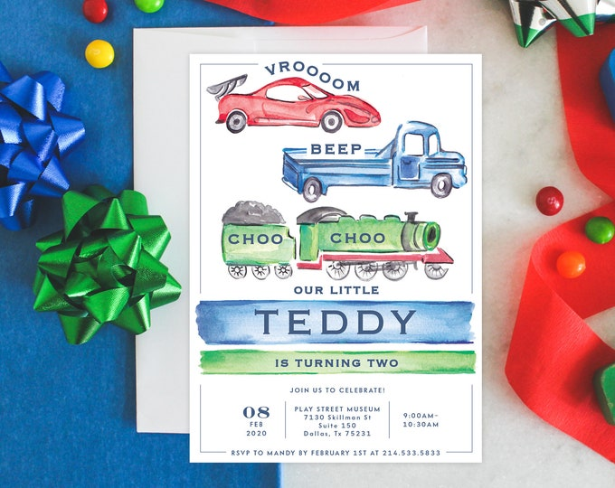 PRINTABLE Birthday Party Invitation | Transportation Party | Second Birthday | Vroom | Beep | Choo Choo