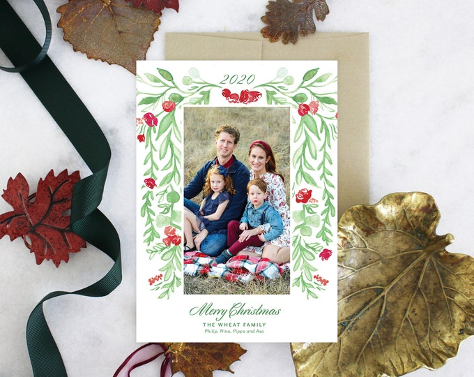 PRINTABLE Holiday Cards | Merry Christmas | Cascading Rose Garland | Photo Cards