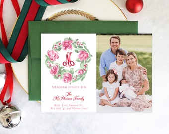 PRINTABLE Holiday Cards | Magnolia Wreath | Photo Cards | Pink & Green Christmas | Birth Announcement