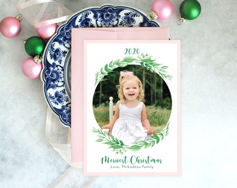 PRINTABLE Holiday Cards | Merriest Christmas | Green Wreath | Photo Cards | Pink and Green Christmas
