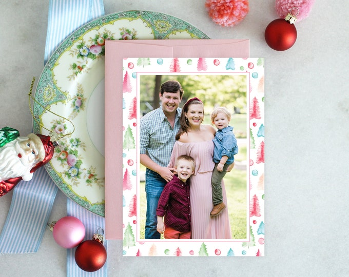 PRINTABLE Holiday Cards   Bottlebrush Trees   Pastel Pines   Photo Cards   Merry Vintage Christmas