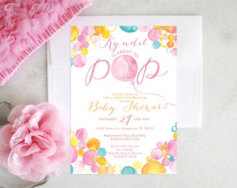 PRINTABLE Baby Girl Shower Invitation | About to Pop!