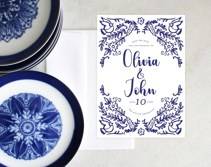 PRINTABLE Save The Date | Something Blue | Blue and White | Chinoiserie