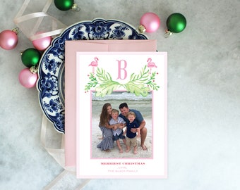 PRINTABLE Holiday Cards | Merriest Christmas | Flamingos | Photo Cards | Tropical | Palm Leaves